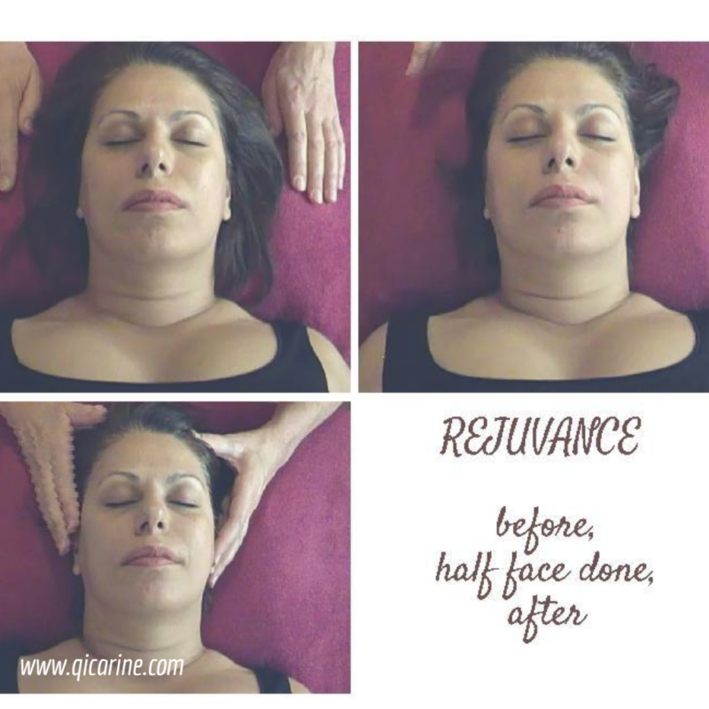 Three faces that show before mid and after results following Rejuvance facial massage